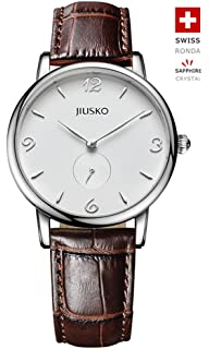 Jiusko Swiss - Mens Classic Quartz Black Wrist Watches - Black Brown Leather - 228