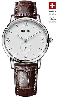 Jiusko Swiss - Mens Classic Quartz Black Wrist Watches - Black Brown Leather - 228