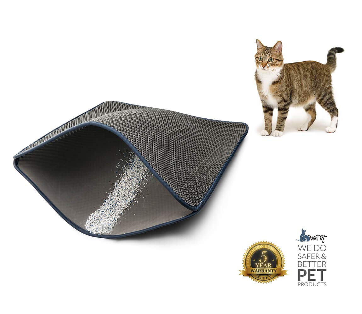 WePet Original Cat Litter mat Large Kitty Litter Box Trapping Sifting Mats Waterproof Urine Repellent for Keep Floor Carpet Clean Best for Grumpy Cat Large