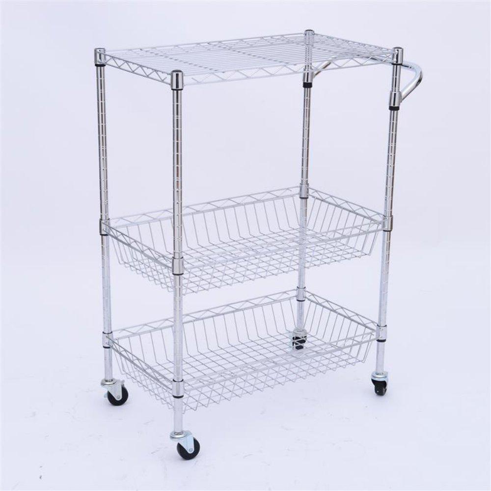 Kitchen Basket Amazoncom Homcom 24 In Portable Rolling Wire Basket Kitchen
