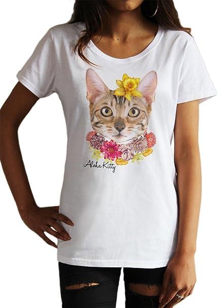 Irony Playera para Mujer Diadema de Gato con Linda Flor ...