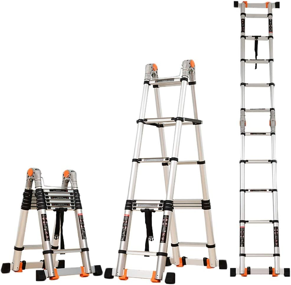 HYDT Escalera telescópica de Escalada con Barra estabilizadora, escaleras Altas de Aluminio para usos múltiples para Mantenimiento de Edificios, Carga 150 kg (Size : 5.4m/17.72ft(2.7m+2.7m)): Amazon.es: Hogar