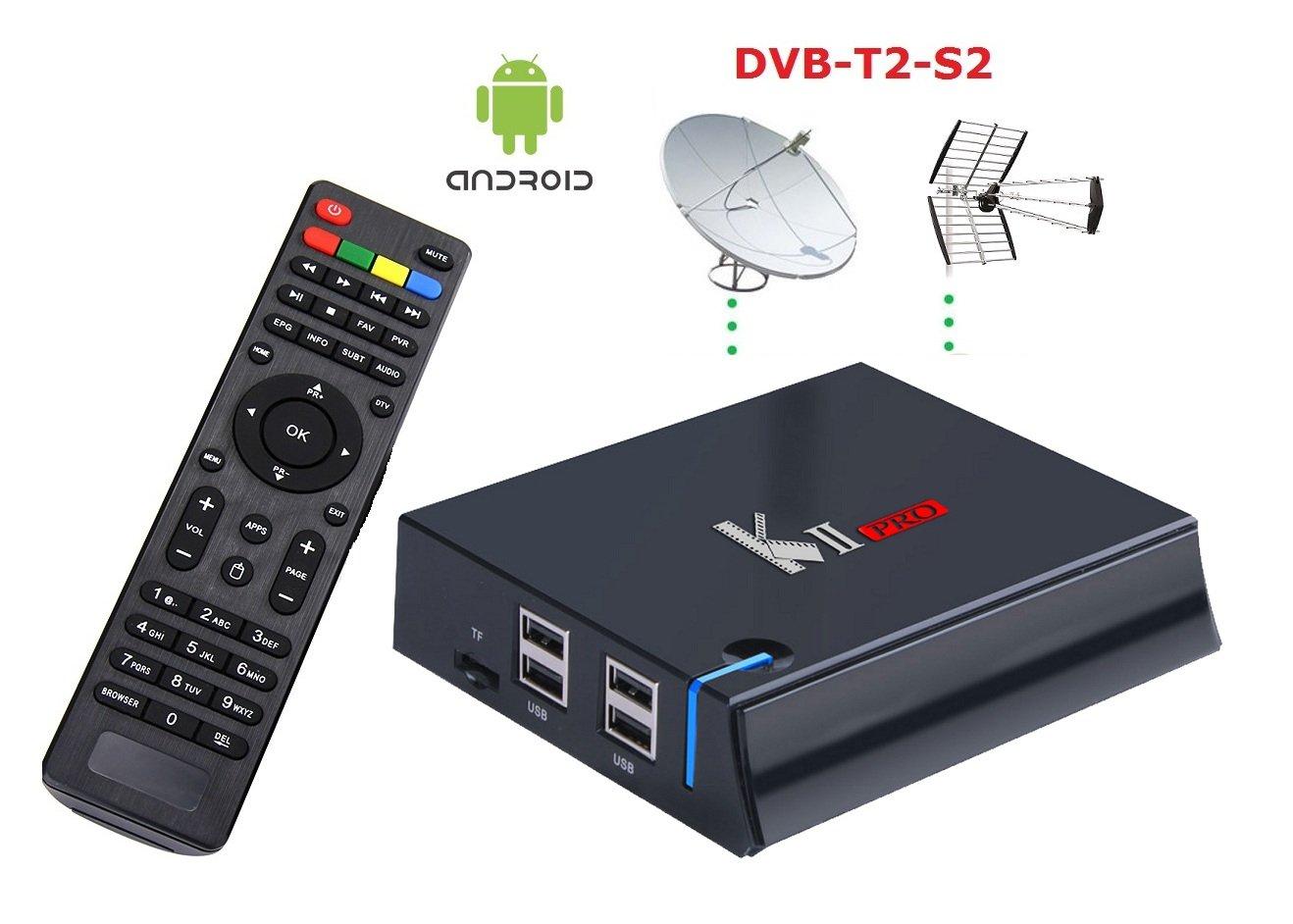 Mecool - Media Center Mini PC KII Pro, memoria RAM de 2 GB, memoria interna de 16 GB, Android 2-3 S905 con receptor satélite S2 y TDT HD 4K, con grabación ...