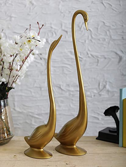 Buy Sammsara Decorative Gold Daffy Swan Set Of 2Large Ht225 Inch Small Ht19 InchDecorative Items For Table DecorationStatue Home Decoration
