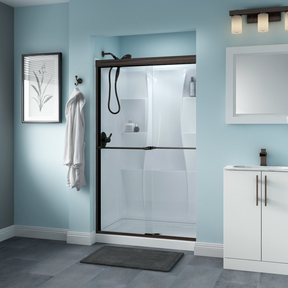 Delta Shower Doors SD3276491 Windemere 48'' x 70'' Semi-Frameless Traditional Sliding Shower Door in Bronze with Clear Glass by Delta Shower Doors