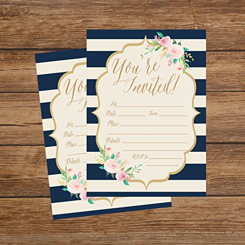 50 Navy Invitations, Bridal Shower Invite, Baby Shower Invitations, Wedding, Rehearsal Dinner Invites, Engagement, Bachelorette Party, Birthday Party, Anniversary, Housewarming, Graduation, Sweet 16 Photo #3