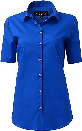 Camisa Mujer de Ceremonia Elástica, Manga Corta Color Liso, Camisetas Mujer Formal Verano, 11 Colores: Amazon.es: Ropa y accesorios