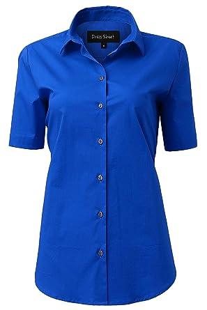 b84b5dcf9 INFLATION Blouses Shirts Women, Short Sleeve Button Down Ladies Blouse  Office Workwear Slim Shirt, Girls School Blouse: Amazon.co.uk: Clothing