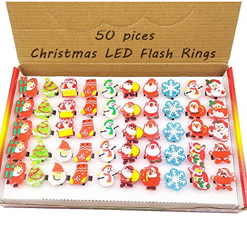 Gavoyeat Christmas LED Ring Luminous Flash Finger Rings Toys 50 Pack Party Favor Blinking Jelly Rubber Rings Kids Adults Gifts Box Sets -