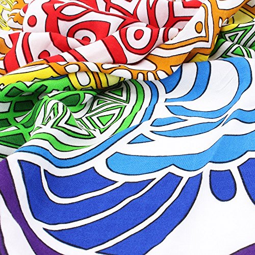 Amazon.com: ATAILORBIRD Beach Throw, Light Travel Throw Bohemian Pompon Tapestry Round Mandala with Multi Color Sunscreen Shawl Picnic Wall Decoration ...