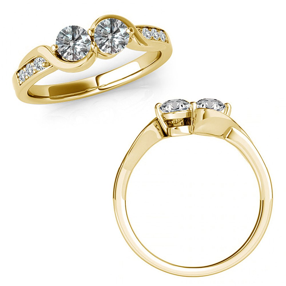 1.15 Carat G-H Diamond Forever Us Two 2 Stone Infinity By Pass Engagement Promise Ring 14K Yellow Gold