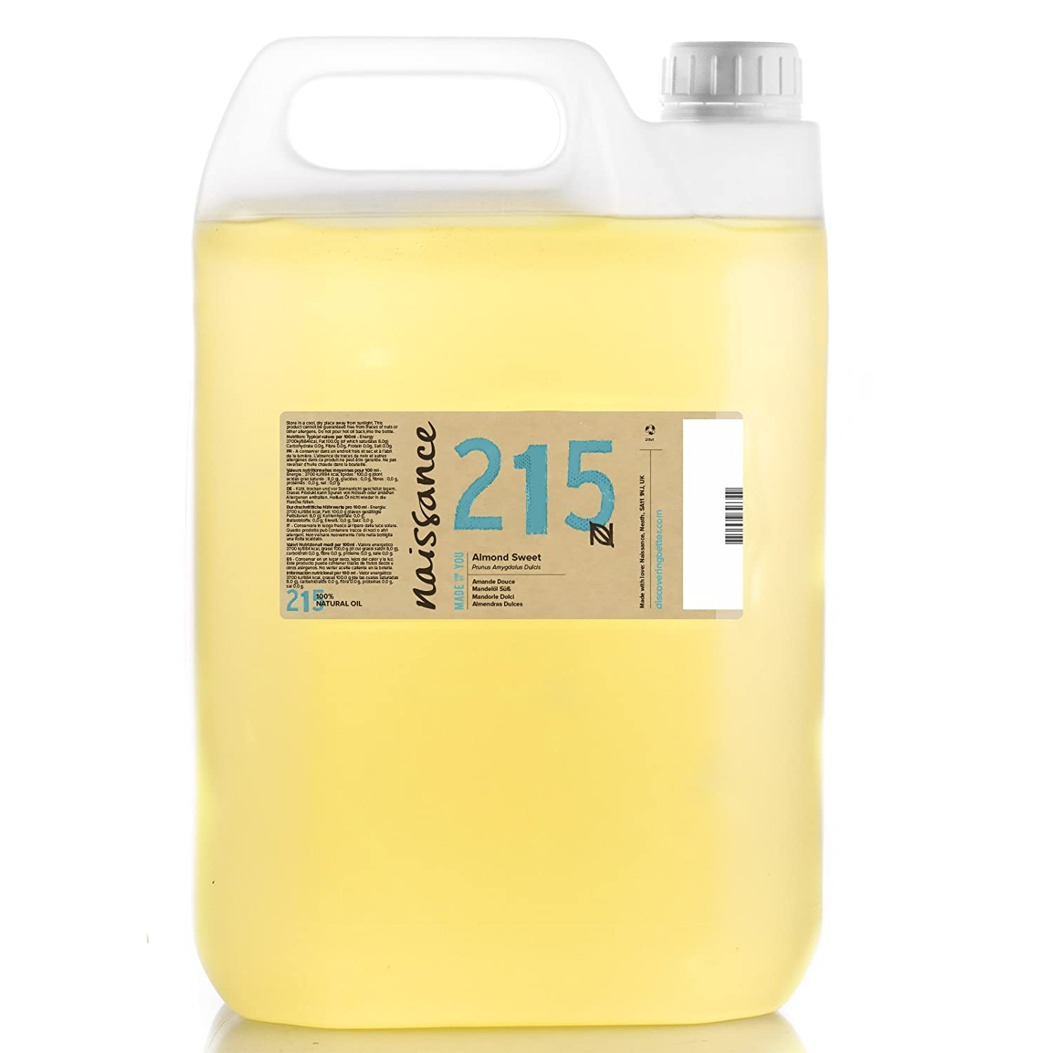 Naissance Sweet Almond Oil (no. 215) 5 Litre - Pure, Natural, Cruelty Free, Vegan, No GMO