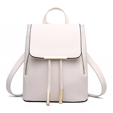 2c95150f44 Amazon.com  SILI Women PU Soft Leather Backpack Girls Candy Color Schoolbag  Leisure Travel Bag Shoulder Bag Beigh White  Shoes