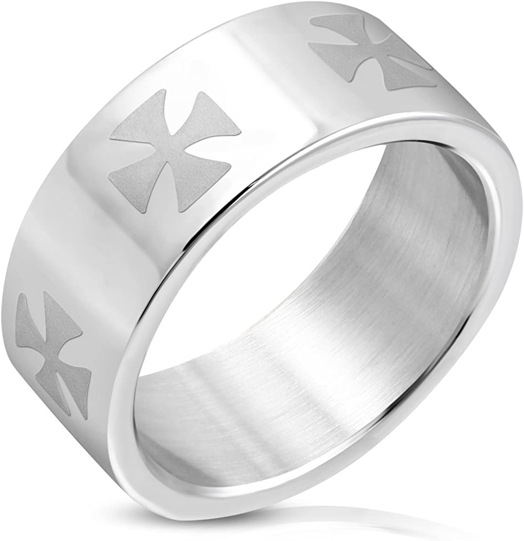 Stainless Steel Polish Finished Six Pattee Crosses Flat Band Ring