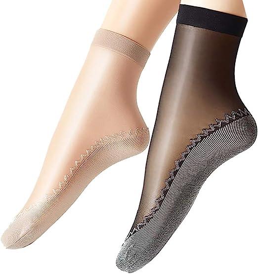 2 Pairs Foot Care 4-7 Silky Sheer Non Slip Knee High Socks