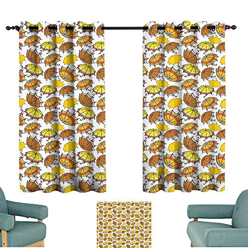 HCCJLCKS Kids Room Curtains Umbrella Striped Parasols with Bent Crook Handles in Earth Tones Cartoon Style Simple Style W55 xL39 Brown Yellow Orange