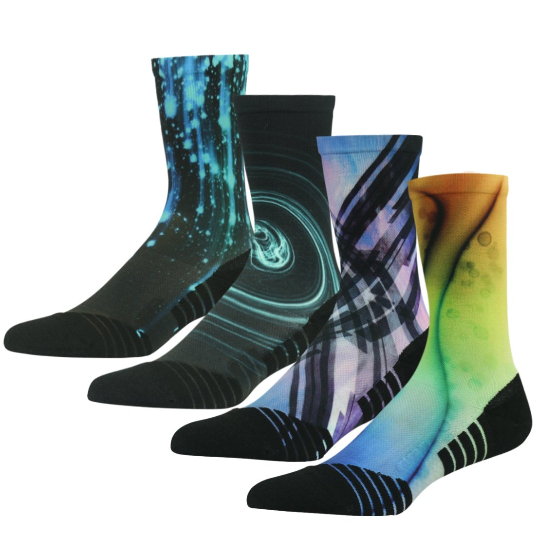 4 Pair color 6 Running Socks Support, HUSO Men Women High Performance Arch Compression Cushioned Quarter Socks 1,2,3,4,6 Pairs