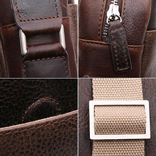 Leathario mini bolso bandolera de moda de cuero de caballo loco de primer capa colgado cruzado sobre el pecho y el hombro o de hombros para hombres (marrón oscuro) CAFÉ