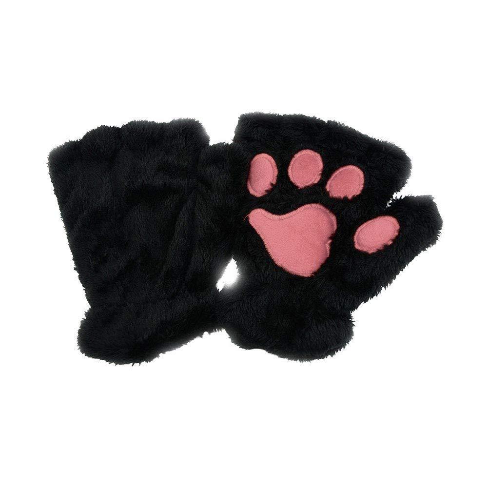 Cute Cat Claw Paw Plush Mittens Women Winter Short Half Finger Gloves