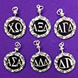 xi gamma omega - Chi Omega, Alpha Xi Delta, Alpha Gamma Delta, Alpha Sigma Alpha, Delta Delta Delta, Delta Gamma Charms in Black and White Damask pattern