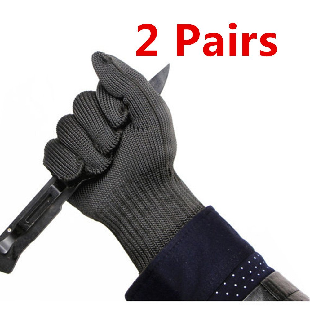 Inf-way EN388 2 Pairs of Stainless Steel Wire Mesh Cut Resistant Mechanic Gloves Level 5 Protection Cut-proof Chain Saw Band Safty Working Kitchen Butcher Gloves