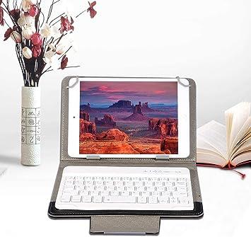 ASHATA Funda Protectora Estuche PU Cuero para Tableta/iPad con Teclado Bluetooth,Funda con Soporte Impermeable Universal para Teclado Inalámbrico para ...