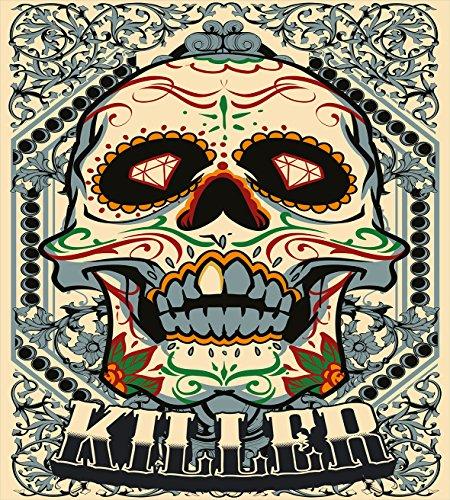 Ambesonne Sugar Skull Duvet Cover Set, Sugar Killer Calaveras Framework Day of The Dead Vintage Gothic Design Print, Decorative 3 Piece Bedding Set with 2 Pillow Shams, King Size, Beige Bluegrey