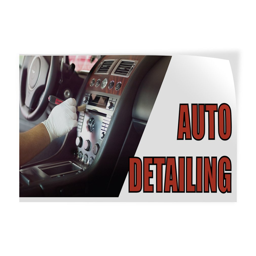 Set of 2 52inx34in Decal Sticker Multiple Sizes Auto Detailing #1 Style O Automotive Auto Detailing Outdoor Store Sign White