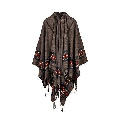 Cape Poncho Femme - Foulard Couverture Élégant Vintage Chaud Châle Automne  - Noir et Gris 733776b379c