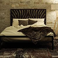 Amisco Zebra Metal Bed, Queen Size 60, Black Coral/Textured Black