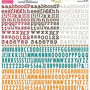 "Tiny Text Cardstock Alphabet Stickers 12""X12""-Pumpkin Spice"