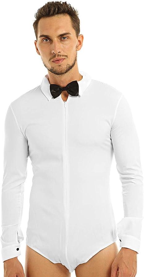 inlzdz - Camisa de Vestir para Hombre, para Noche, Boda, Esmoquin, Cena, con corbatín: Amazon.es: Ropa y accesorios