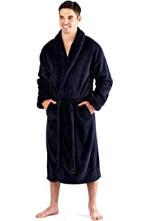 Mens 300GSM Soft Fleece Plain Black or Navy Blue Shawl Collar Tie Belt Bath Robe Dressing Gown Size Medium Large XL and XXL