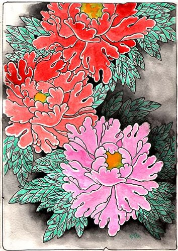 Amazoncom Black Market Art Peonies At Night By Clark North Asian