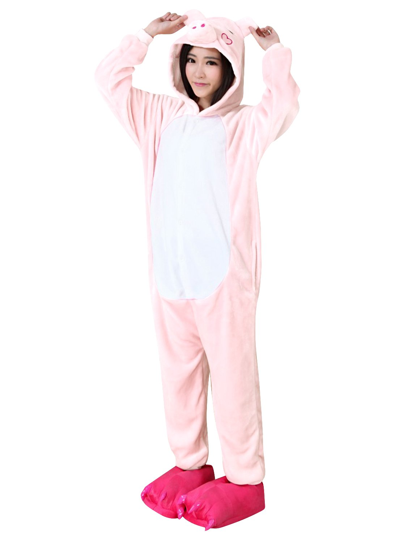 SanJL Unisex Adult Pajama Onesies One Piece Halloween Costumes Christmas Gift (L(height:170~179cm), Pink Pig)