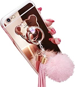 iPhone 6 Plus / 6s Plus Case, Luxury Fur Ball Soft Rubber Bumper Bling Diamond Glitter Mirror Makeup Case with Bear Ring Stand Holder for Girls (Pink, iPhone 6 Plus / 6s Plus)