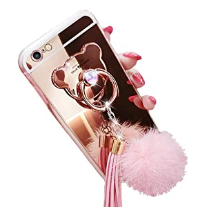 iPhone 6 6s Case, Luxury Fur Ball Soft Rubber Bumper Bling Diamond Glitter Mirror Makeup Case with Bear Ring Stand Holder for Girls (Pink, iPhone 6 / 6s)