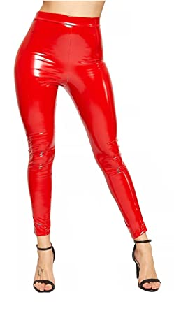 7917a23fccc9a Ladies Vinyl Wet Look Shiny PVC Disco High Waist Elasticated Leggings Pant  Red 8: Amazon.co.uk: Clothing