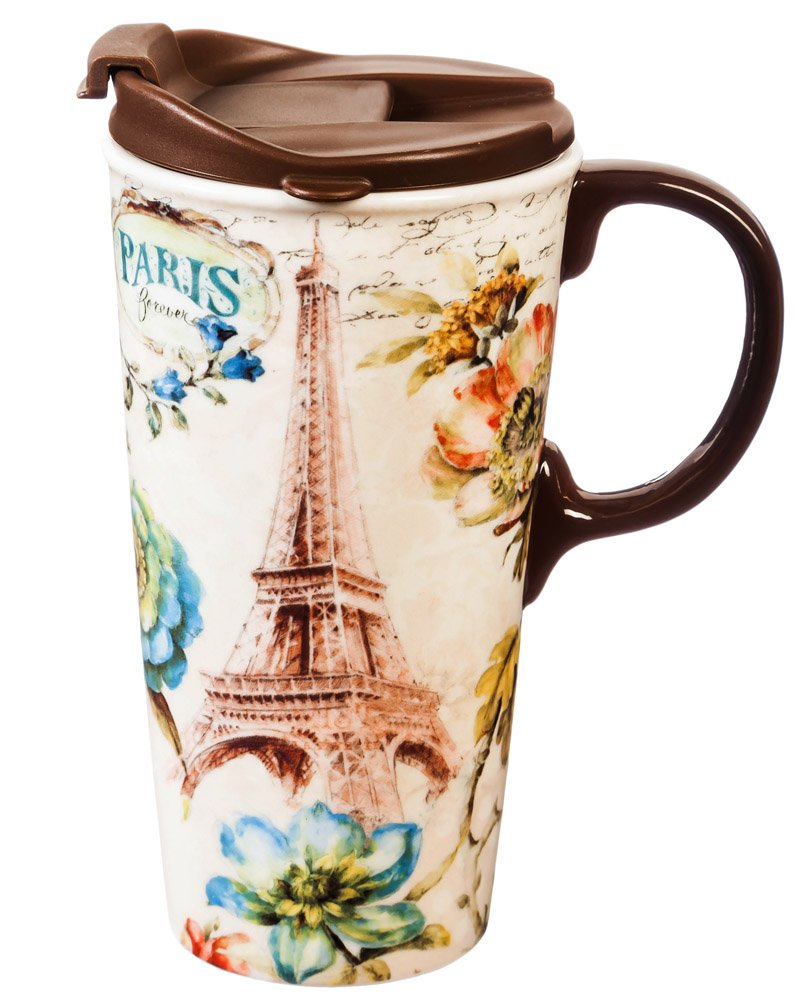 Cypress Home Paris Forever Ceramic Travel Coffee Mug, 17 ounces