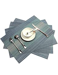 pauwer placemats set of 6 crossweave woven vinyl placemat for kitchen table heat resistant non slip kitchen table mats easy to clean blue - Kitchen Table Mats