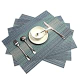: PAUWER Placemats Set of 6 Crossweave Woven Vinyl Placemat for Kitchen Table Heat Resistant Non-slip Kitchen Table Mats Easy to Clean (Blue)