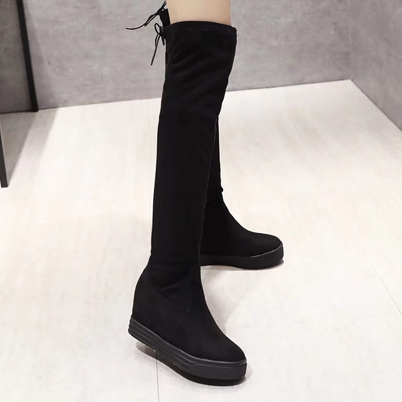 AIYOUMEI Damen Stratch Overknee Stiefel mit Keilabsatz und Plateau Winter Langschaft Keilstiefel K4qEAo