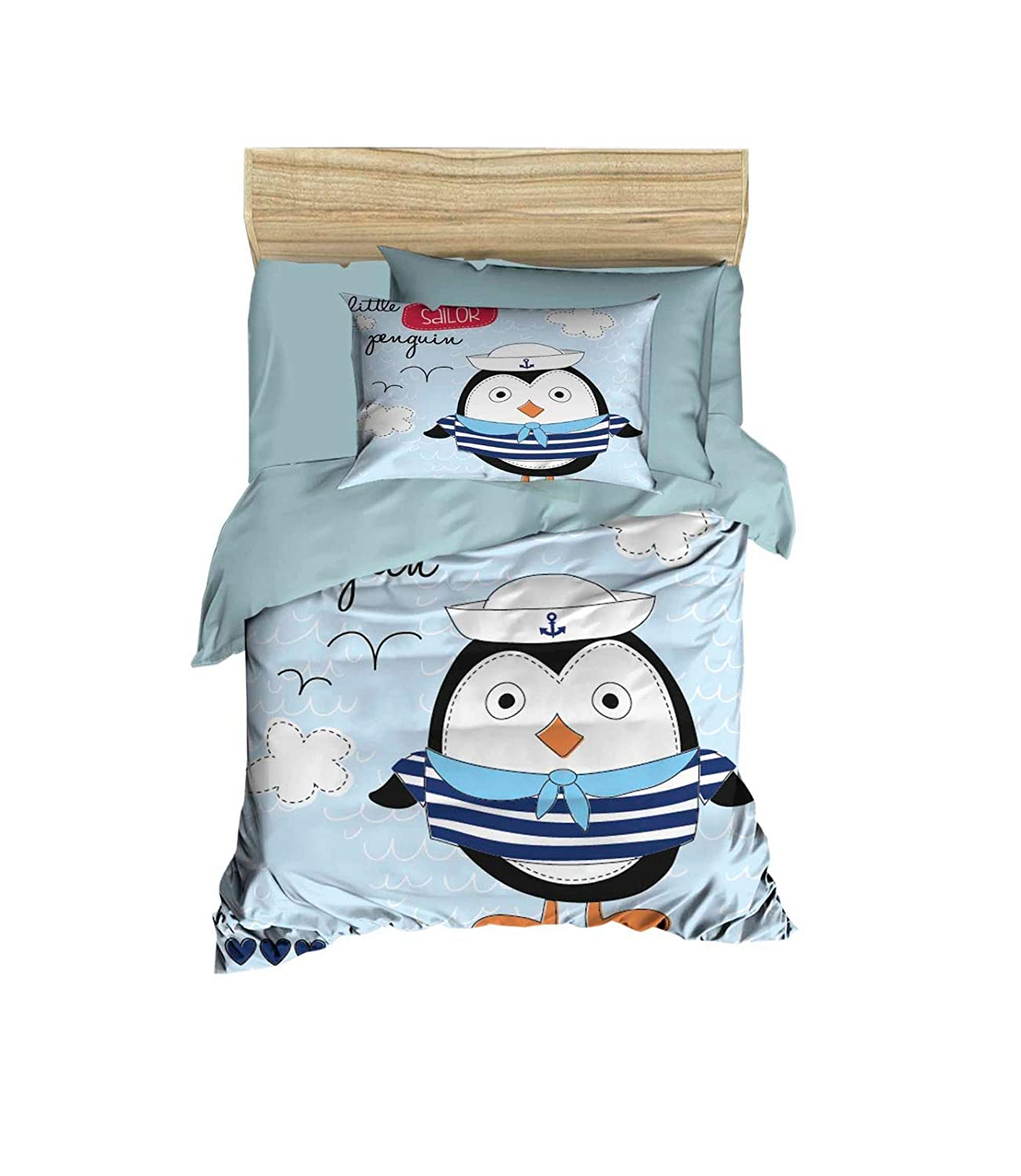 100% Cotton Baby Bedding Penguin Themed Nursery Baby Bett Set, Toddlers Crib Bedding for Baby Boys, Duvet Cover Satz with Comforter, 5 Pieces