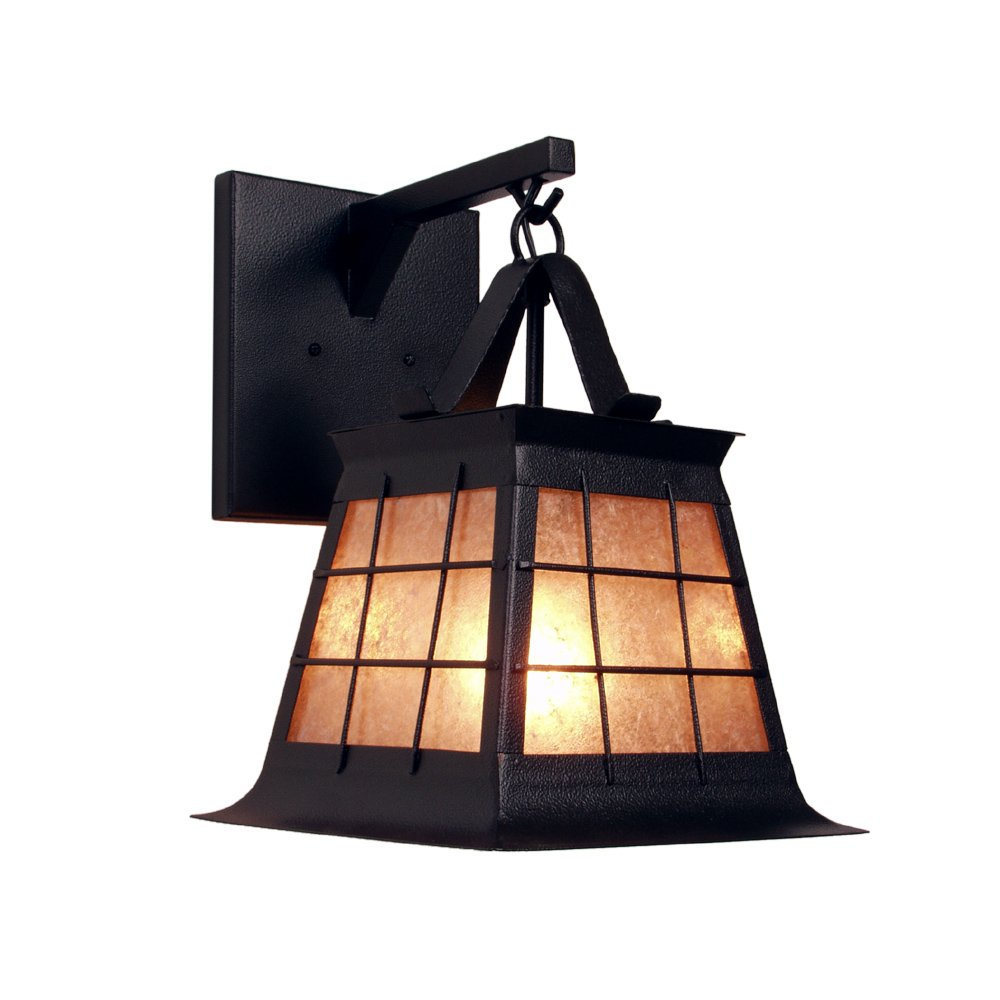 Architectural Bronze Finish Steel Partners Lighting 2181-AB TOPRIDGE Hanging Sconce with Amber Mica Lens