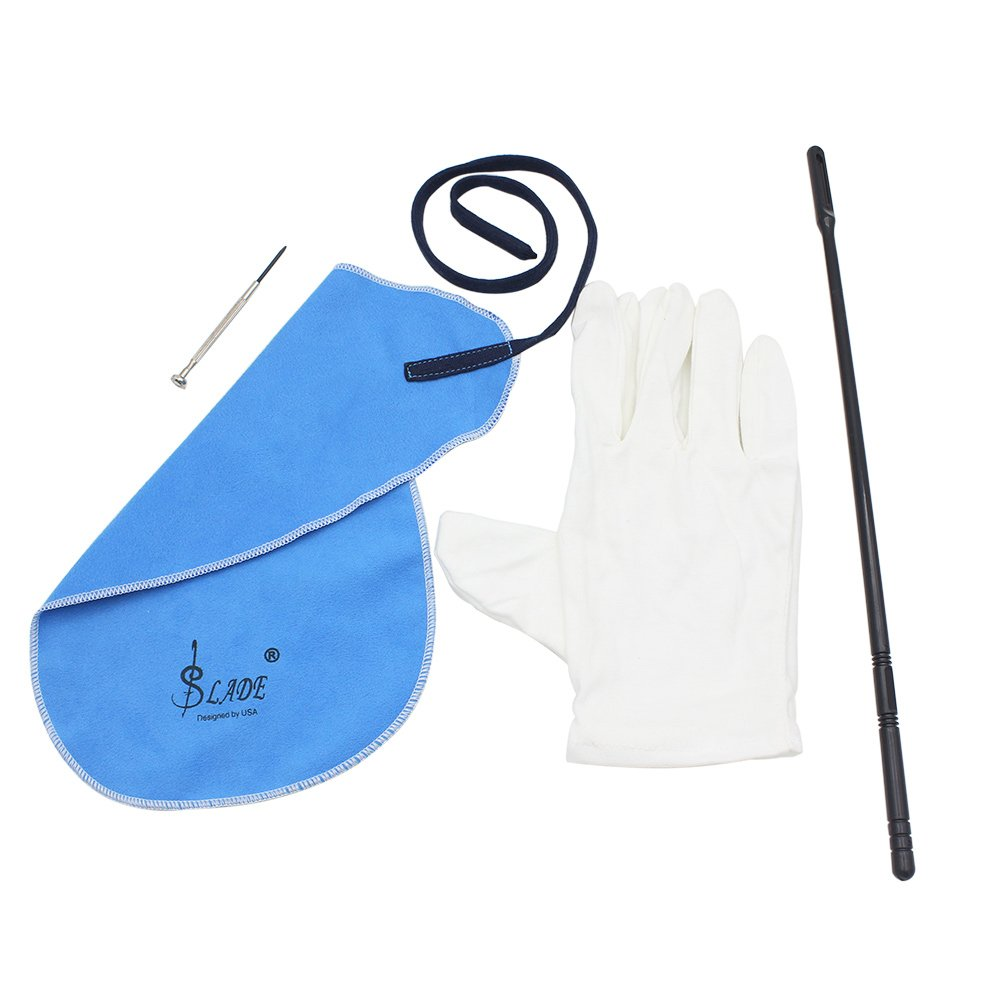 Andoer Flute Cleaning Kit Set with Cleaning Cloth Stick Cork Grease Screwdriver Gloves