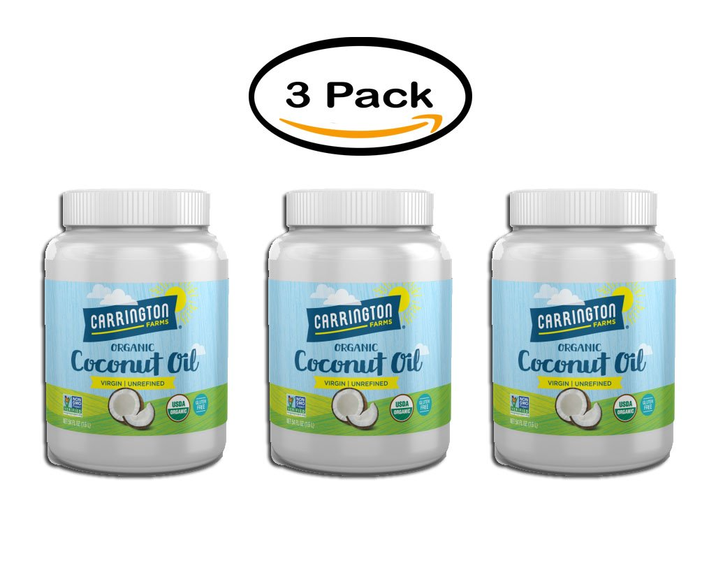 Pack of 6 - Carrington Farms Virgin Unrefined Coconut Oil, 54.0 FL OZ