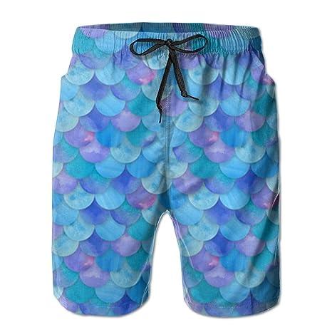 d34de7a1ad Men's Geometric Blue Mermaid Tropical Quick Dry Board Shorts Swimming  Volley Beach TrunksXL
