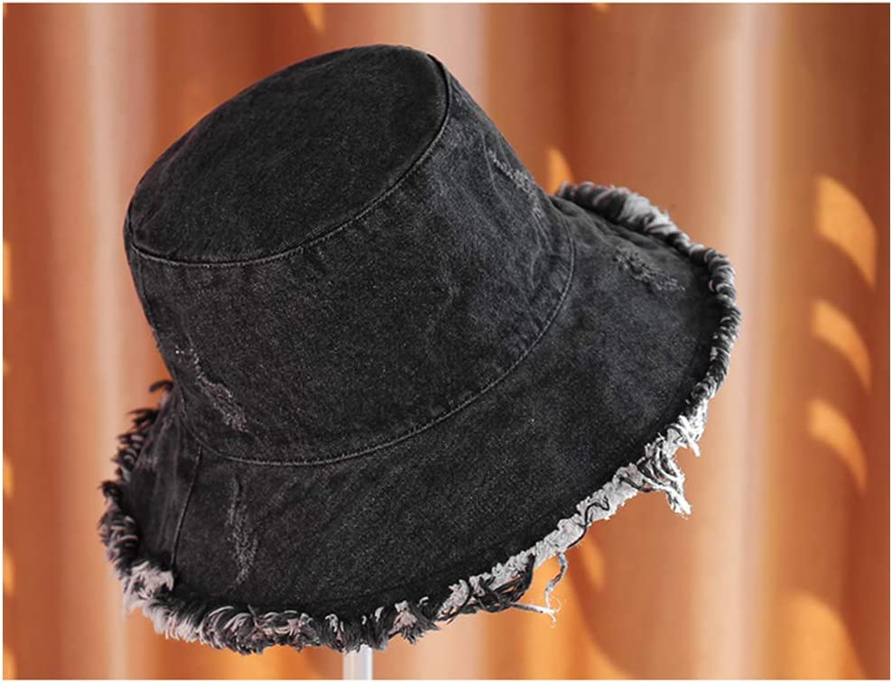 Amorar Denim Bucket Hat Solid Color Fringed Edging Fisherman Hat Fashion Wide Brim Sun Hat Summer UV Protection Beach Hat Foldable Fishing Hat