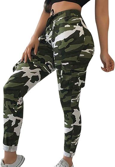 Femmes Camouflage Jogging Pantalon Cargo Décontracté Doublure Fitness Doublé