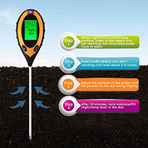 Environment Soil Tester 4-in-1 Digital Moisture Meter PH Levels Temperature Sunlight Tester for Garden, Farm, Lawn, Plants Outdoor Indoor by Environment (Image #4)